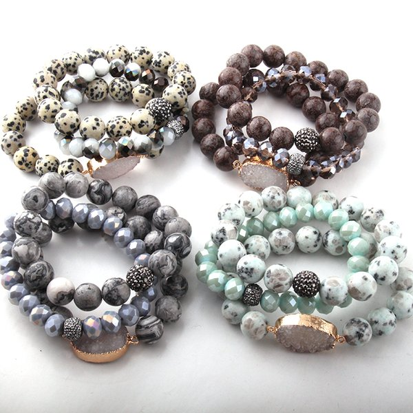 top popular Fashion Beautiful 3pcs set Stone Bracelet Sets 12mm Natural Stone White Druzy Link & Glass Crystal Pave Bracelets 2021