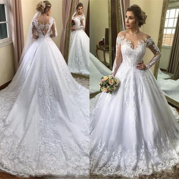 2020 Длинные рукава Puffy Свадебные платья Arabic плеча шнурка Appliqued Свадебные платья С поезда суда Плюс Размер материнства платье