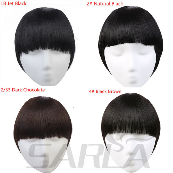 2019 Clip In Bangs Hair Extension Hairpiece Synthetic Front Fringe Full Natural Flase Women Black Blonde Brown Clip On B3