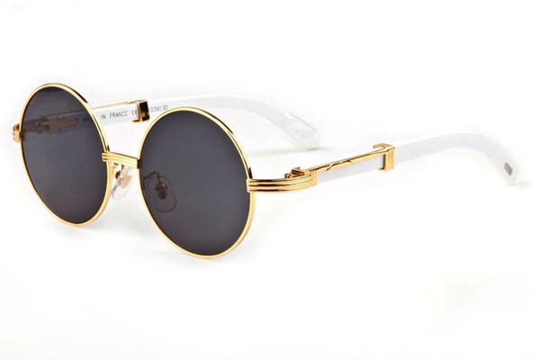 Toptan-Çerçevesiz Yuvarlak Güneş Gözlüğü Marka Tasarımcısı güneş gözlüğü erkekler kadınlar için bufalo boynuzu gözlük Temizle kahverengi lens ahşap çerçeve kutusu
