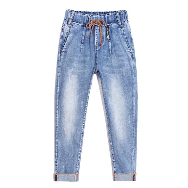 Spécial Nouvelle Conception Élastique Petit Ami Pour Les Femmes Jeans Femme Plus La Taille Lâche Jeans Taille Haute Stretch Denim Haren Pantalon Femme