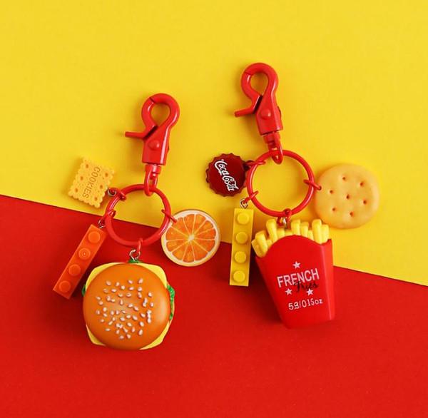 Ciondolo portachiavi cibo creativo Portachiavi auto fatto a mano Cerchio Semplice personalità Regalo creativo fibbia Ti meriti