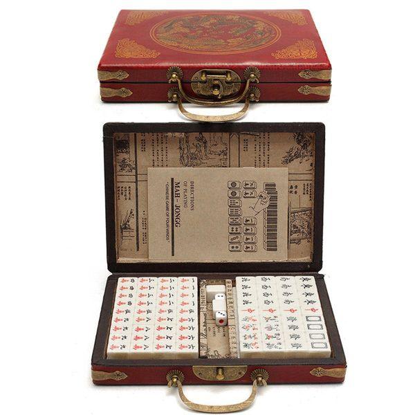 Chinese portáteis numeradas Mahjong Set 144 telhas Mah-Jong Set Toy chinês com Box Partido Jogos família Board Game Entretenimento