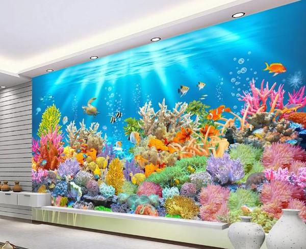 Benutzerdefinierte 3D-Wandbild Tapete Wohnzimmer Schlafzimmer Sofa TV Hintergrundbild Die beste HD-Fantasy-Unterwasserwelt Foto wasserdichte Tapete
