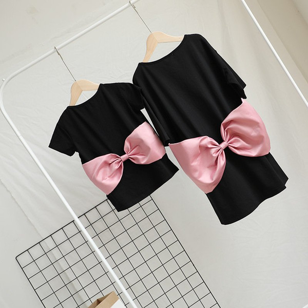Mother And Daughter Pink Bow T-Shirt Baby Girls Black Tshirt Kids And Parents Summer Sun Dresses Family Matching Outfits