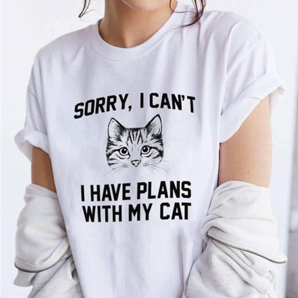 Je ne peux pas avoir de projets avec ma lettre de chat Femmes T-shirt imprimé 3D à manches courtes fille d'été Tshirt Femme Casual Tee Tops