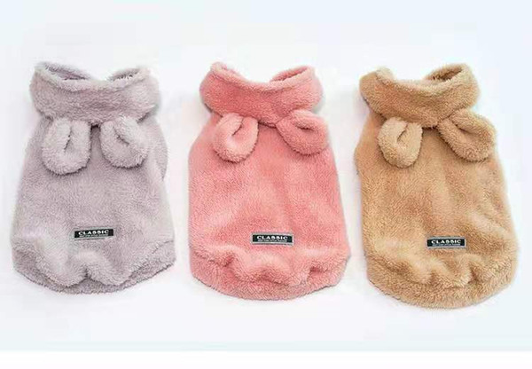 Autumn and winter new solid color bear ears pet clothes, thick Teddy dog fleece.
