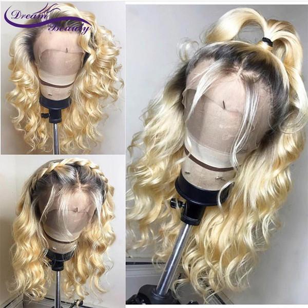 Naturel doux 360 dentelle Perruque Vague Lâche Avec Des Cheveux De Bébé Ombre Blonde 613 Perruque Avant De Lacet Sans Colle Synthétique Perruques Pour Les Femmes