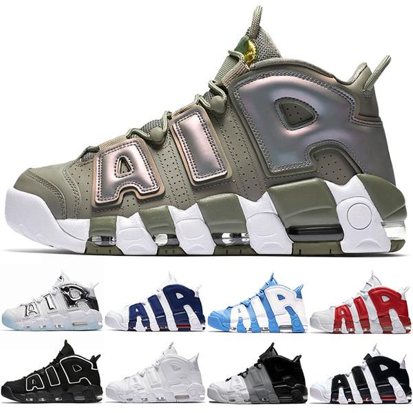 Air More Uptempo Men Women Basketball Shoes Scottie Pippen Varsity Red Triple White UNC Iridescent Chrome Blue Sport Sneaker Size 5.5-13