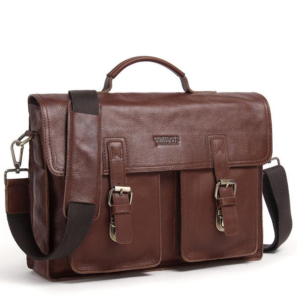 Бизнес мужской портфель из натуральной кожи для 14