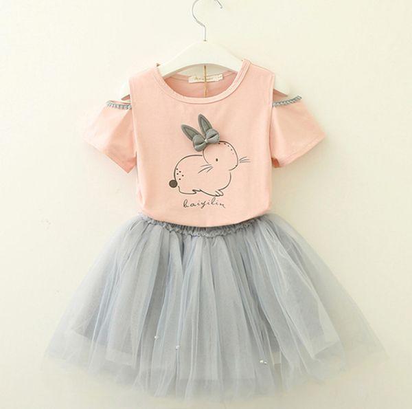 INS Girls princess outfits 2019 summer new kids Bows letter rabbit printed dew shoulder T-shirt+lace tulle tutu skirt 2pcs sets F3152