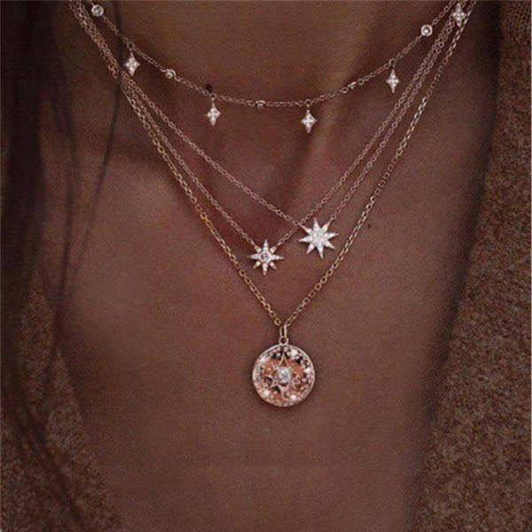 Fashion Multilayer Choker Necklace Crystal Star Heart Chain Women Summer Jewelry
