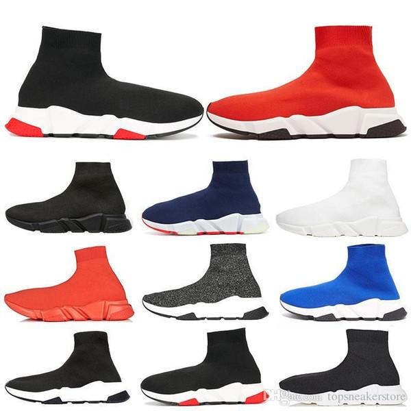 2019 Designer de Velocidade Trainer Das Mulheres Dos Homens de Alta Sock Sapatos Preto Azul Vermelho Sólida Moda de Luxo Botas Formadores Corredor Andando Tênis
