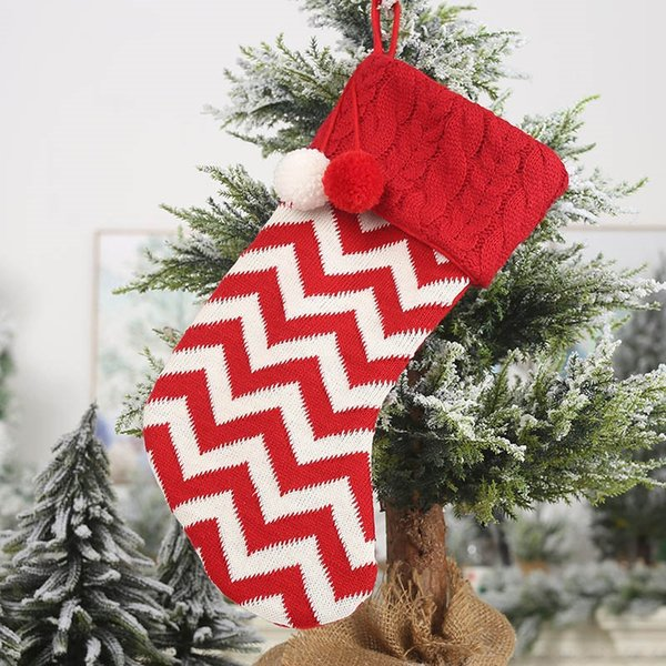 Christmas Decoration For Stocking Candy Socks Bags Christmas Tree Reindeer Snowflake Striped Stocking Party Decor Xmas Gifts bags FA2424