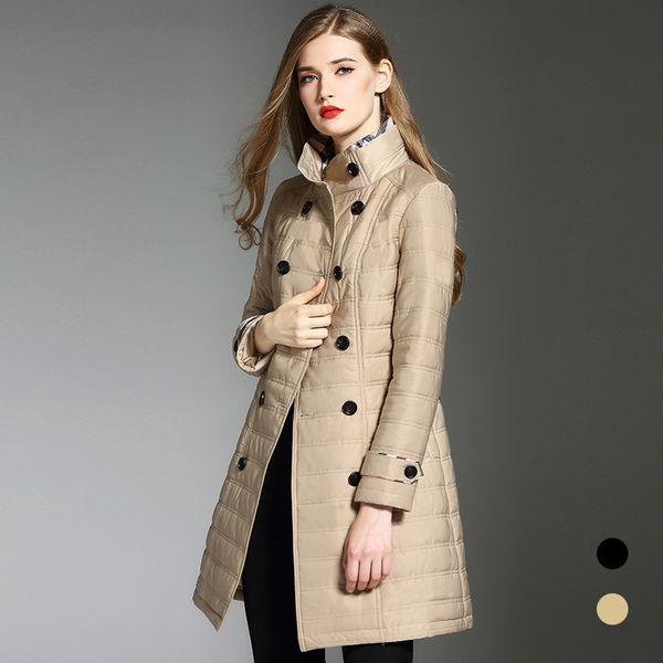 Англия Ветер осень и зима платье Новый шаблон Easy Увеличить Код Длинный Фонд хлопка-проложенный одежды Женщина Сыпучие пальто