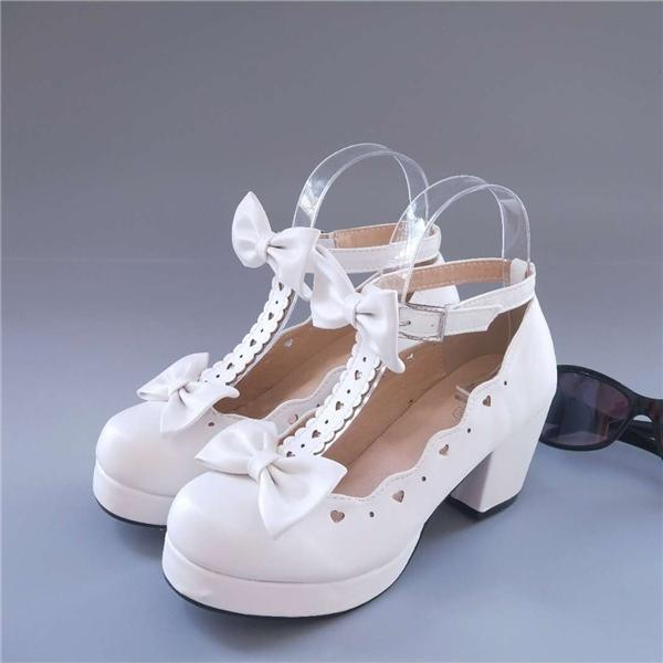 Womens Mary Jane Block Buckle Lolita Bowknot Mid Heel Pumps Chunky Shoes Hollow Out Sweet A113