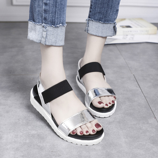 Women Sandals Summer Platform Sandal Shoes Breathable Comfort Shopping Ladies Beach Shoes Gold Silver