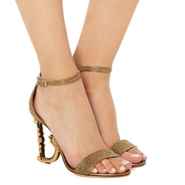 여성 신발 여름 하이힐 럭셔리 샌들 2020 브랜드 디자이너 골드 블랙 레드 샌들 여성 결혼 샌들 신발 여성