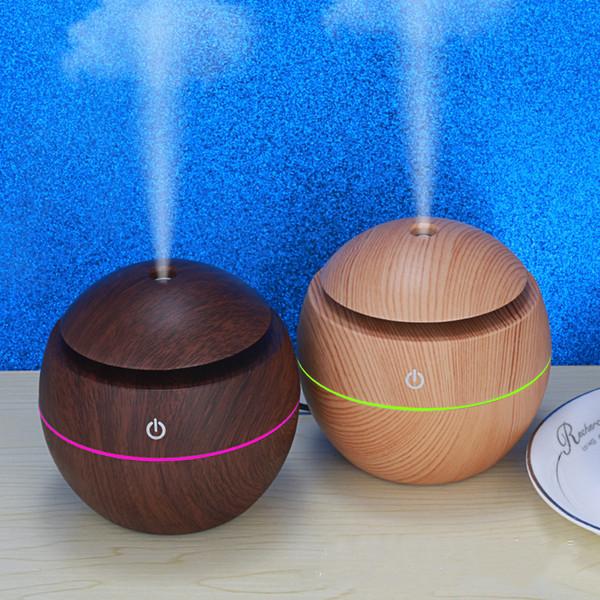 USB grain de bois machine d'aromathérapie humidificateur d'air à ultrasons aromathérapie atomiseur portable LED huiles essentielles Diffuseur T2I5175