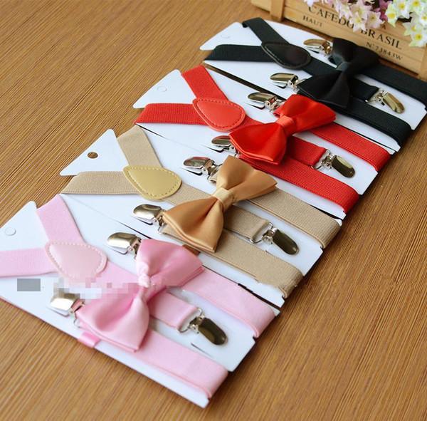 26 couleurs Enfants Bretelles Noeud papillon Set pour 1-10T Bébé Bretelles Élastique Y-dos Garçons Filles Bretelles accessoires
