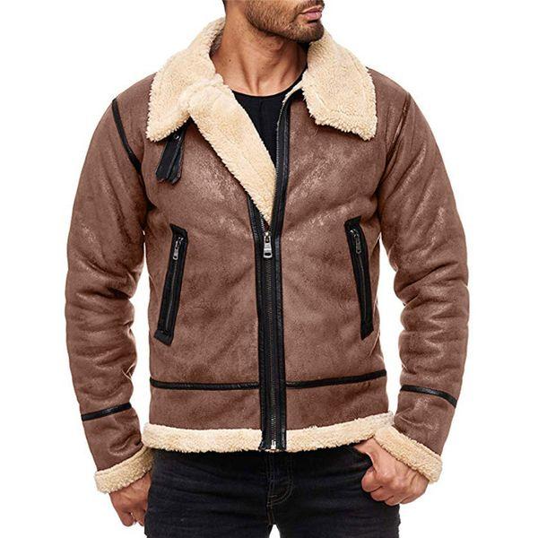 NEW Мода Мужчины Зима Топы с длинным рукавом Мех Пояс искусственной кожи Куртка Highneck барашек Coat Шерсть Подкладка Bomber Jacket Men