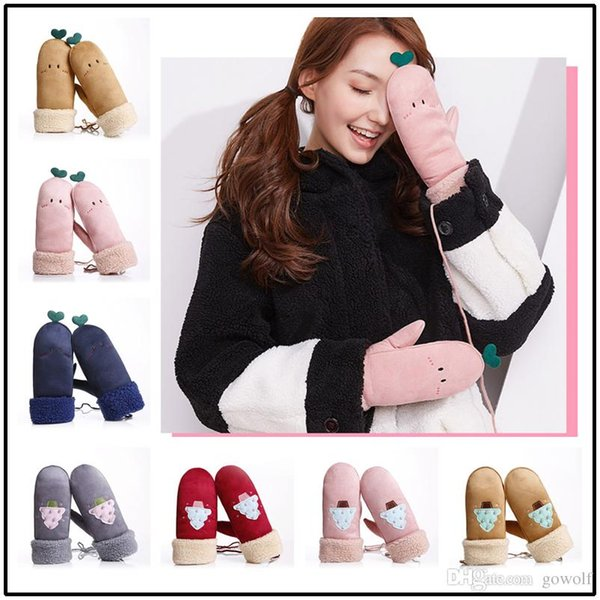 Kawaii Soft Female Winter Mittens Girls 14 Colors Artificial Deerskin Leather Gloves Fashion Antivento Guanti antigelo