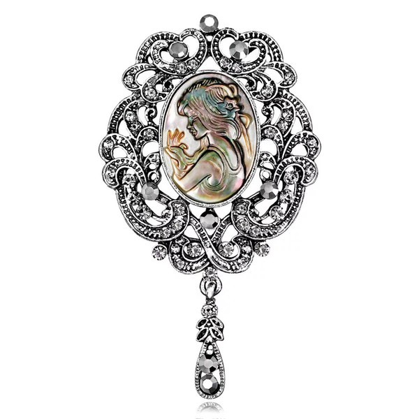 Women Brooches Retro Alloy Gold Plated Diamond-encrusted Abalone Shell Beauty Girl Head Rainstone Pins Brooch for Dress Tie Suit