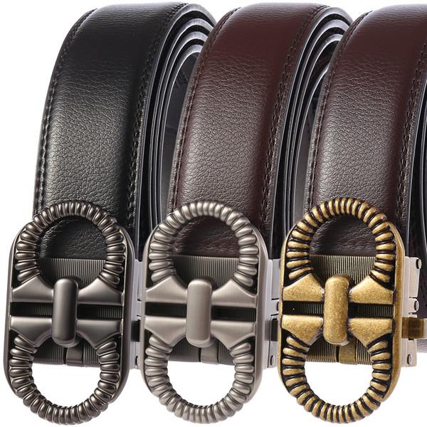 2019 homens cinto de couro genuíno cinta moda masculina cintos para homens nova chegada de moda clássica automática fivela cintos 110-130 cm