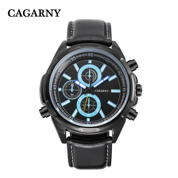 Classic Big Case Analog Quartz Watch For Men Cagarny Dual Times Miltiary Relogio Masculino Black Leather Strap Saat