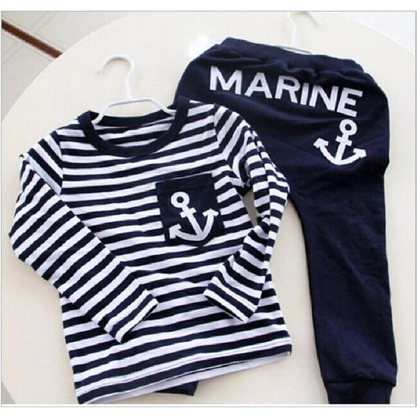 Marine Navy Sailor Boys Trajes deportivos Ropa de niños Set para niño Chándal para niños Camisetas Conjuntos de pantalones Ropa para niños Sudaderas