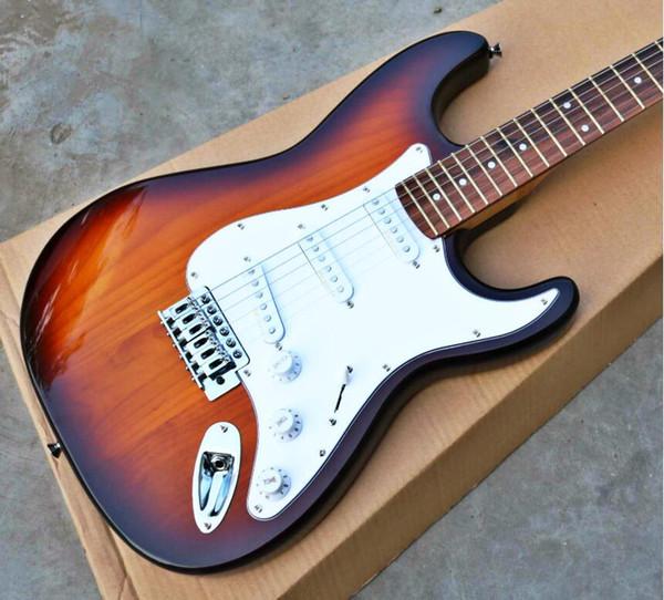 Venta de alta calidad más barata FDST-1020 3TS color sólido madera de paulownia diapasón de palisandro guitarra eléctrica Stratocaster, envío gratis