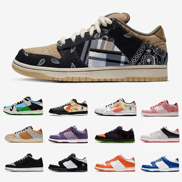 2020 new designer sneakers sb dunk low safari for mens womens white off navy unc blue yellow black fashion skateboard gym casual shoes