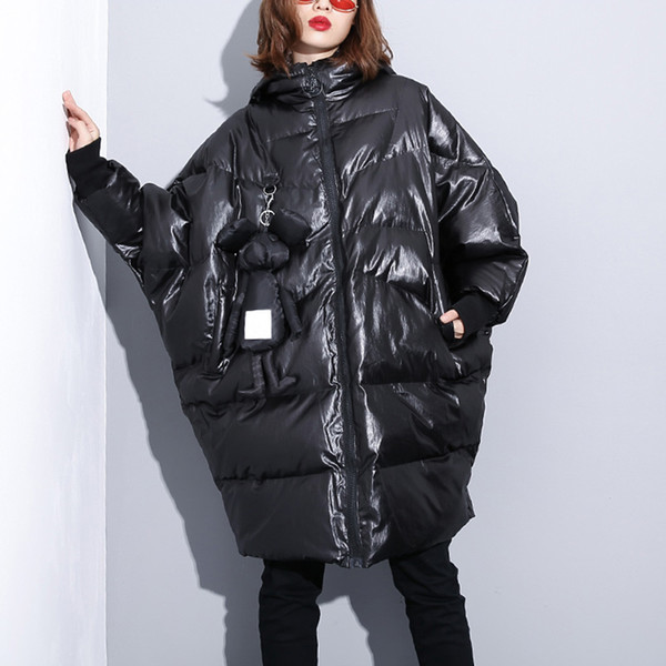 Large Size Cotton Padded Coat Women Shiny Winter Parka With Hood 2018 New Series Thick Hooded Womens Long Wadded Jacket