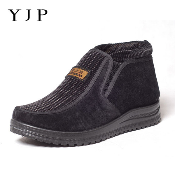YJP Large Size Eur40-44 Corduroy Snow Boots Men Winter Shoes Fur Lined Ankle Boots For Men Shoes Slip-on Casual Booties For Dad