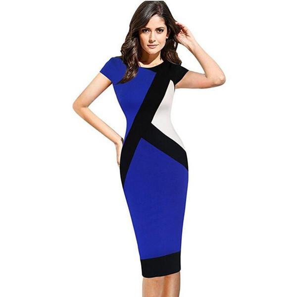 Vfemage Para Mujer Otoño Invierno Elegante Ilusión Óptica Colorblock Modesto Delgado Trabajo de Negocios Fiesta Casual Vestido Lápiz Vestido 4725