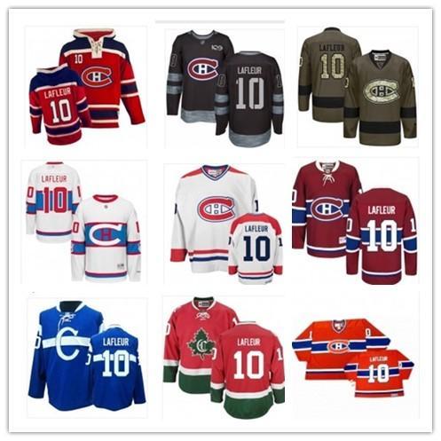 pode ser personalizado Montreal qualquer nome de qualquer número Juventude das mulheres dos homens de 10 Guy Lafleur vermelho bule Hockey Jerseys Vermelho Azul Canadien