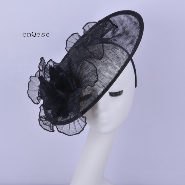 2019 Big Black wave crin fascinator Ladies formal dress hat sinamay fascinator hat for wedding bridal shower mother of the bride w/feathers.
