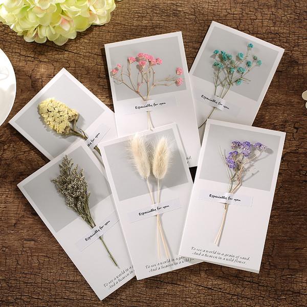 10pcs 9 * 16 cm flores secas creativas + Papercard tipo plegable tarjetas de felicitación de la fiesta de cumpleaños de Navidad invitaciones de boda