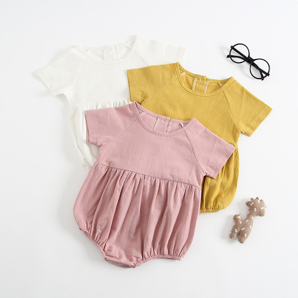 2019 Cute Infant Baby Girls Boys Clothes Summer Short Sleeve Solid Color Linen Cotton Romper Casual Baby Romper Jumpsuit Outfits