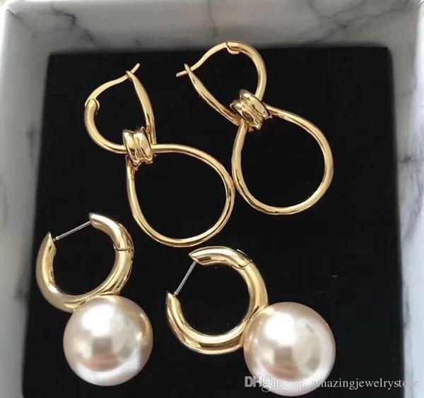 2018 Top-Qualität Markenname 8 und Knotenform Design Haken verbinden Ohrring Ohrringe Schmuck für Frauen Hochzeit Ohrring Geschenke in 18 Karat Gold plat