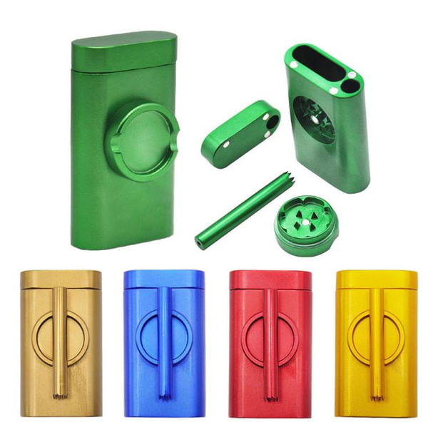 Cross-border Set Metal Pipe Aluminum Tobacco Box with Smoke Grinder