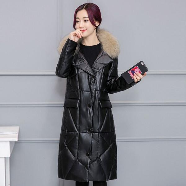 pu vestuário casaco quente casacos de inverno europeu novo inverno jaqueta feminina alta imitação de peles de couro 3XL tamanho sobretudos