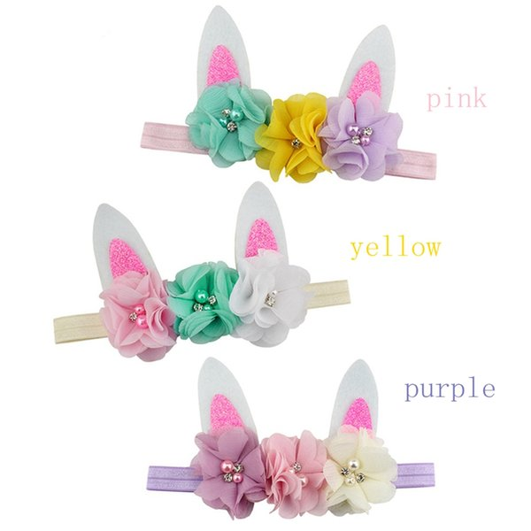 Easter Bunny Sequin Bow Floral Headband Cute Baby Boys Girls Hairbands Kids Hair Band Hair Accessories