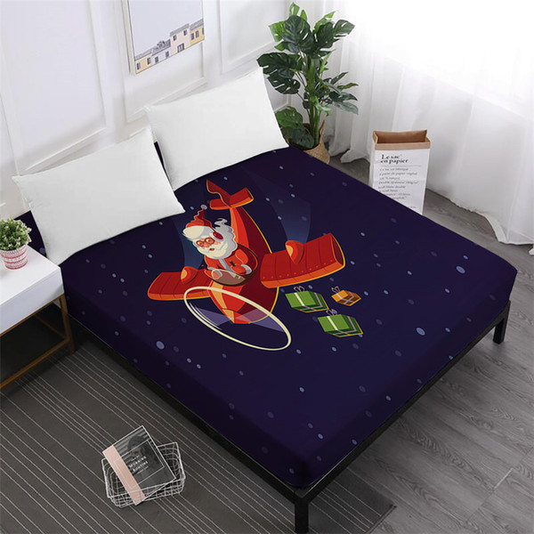 Cartoon Christmas Bed Sheet Merry Christmas Fitted Sheet Santa Claus Plane Print Sheets King Queen Mattress Cover Home Textile