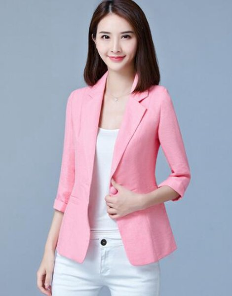 Woman spring and autumn new fund is special euramerican vogue individual character tide shows thin 7 minutes sleeve blazer / S-5XL