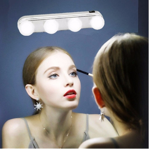 4 Bulb Makeup Mirror Light Headlights Installed Convenient Suction Cup Makeup Lamp LED Mirror Light Battery Powered Gift