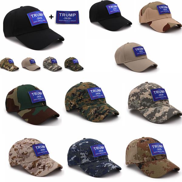 10 Arten Camouflage Trump Baseballmütze Mütze Keep America Great 2020 Hut Brief Aufkleber Snapback Outdoor-Strand 5.11 Partei gefallen FFA1952
