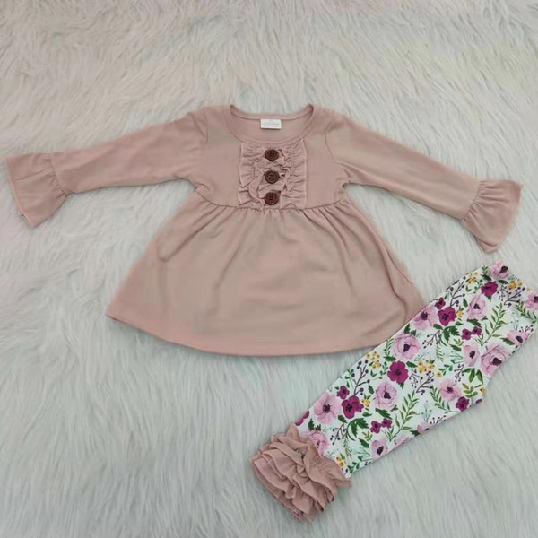 cotone Solid lunghezza della tunica cima partita a velo floreale leggings volant bambina insieme dei vestiti del boutique