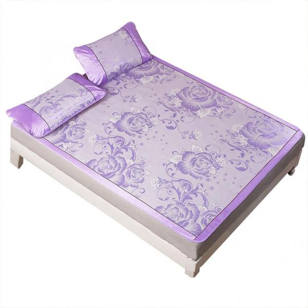 Eiskühlung Sommer Schlafmatte Falten lila Spannbetttuch Set