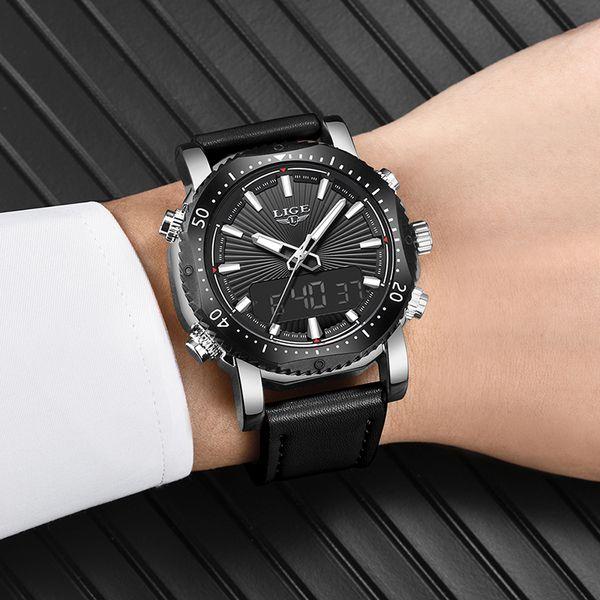 LIGE Mens Watches Top Brand Luxury Men Sport Watch LED Display Leather Strap Quartz Wrish Watch Waterproof Relogio Masculino+Box